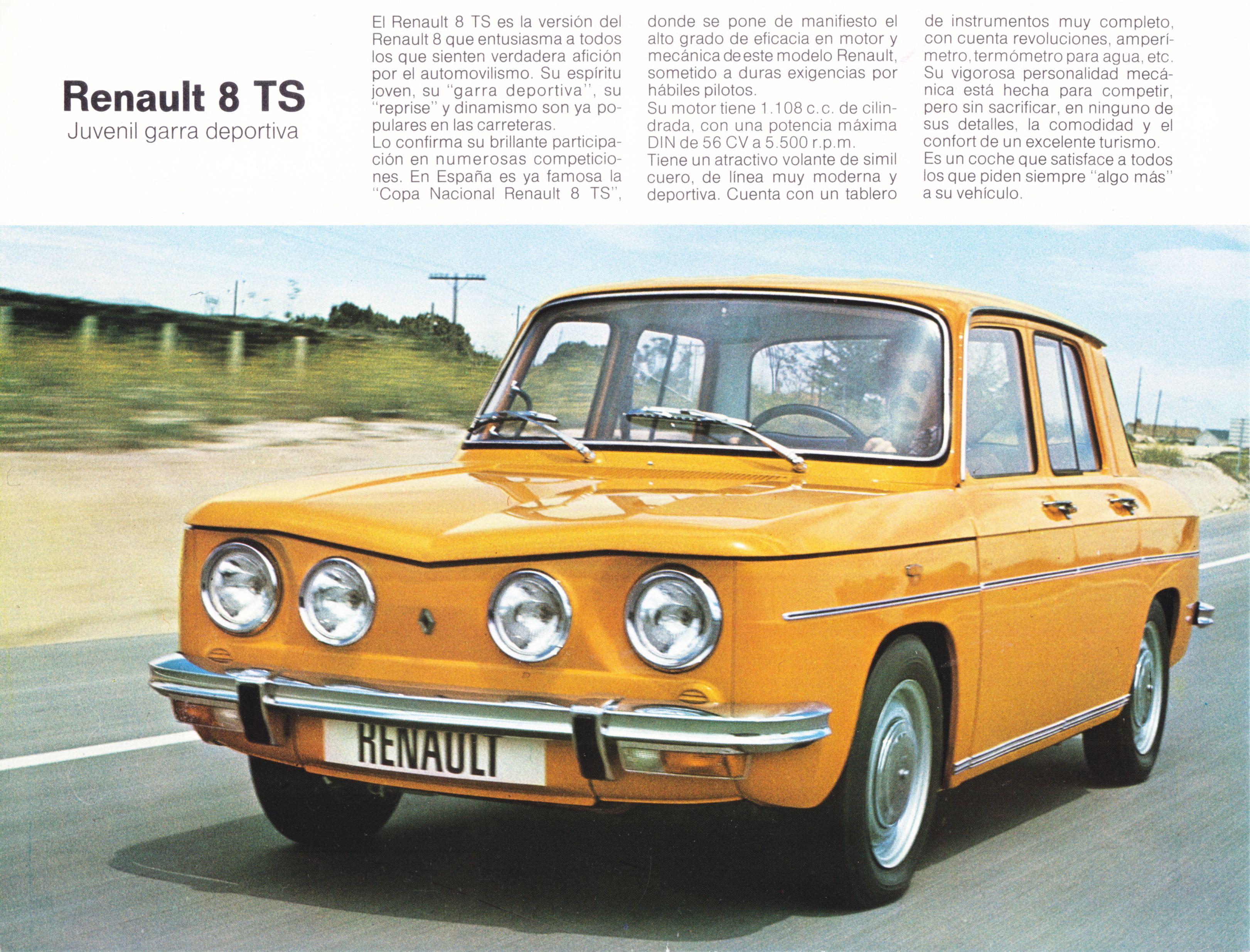 Renault 8 Ts Sedan Spanish Leaflet 1974 Renault Gordini Automoviles Autos