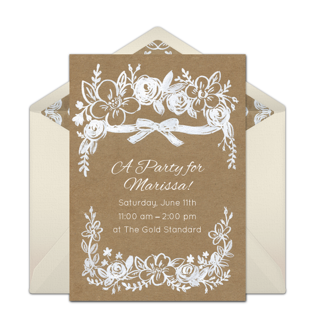 Customizable Free Rustic Floral Online Invitations Easy To Personalize And Send For A Party Punchbowl