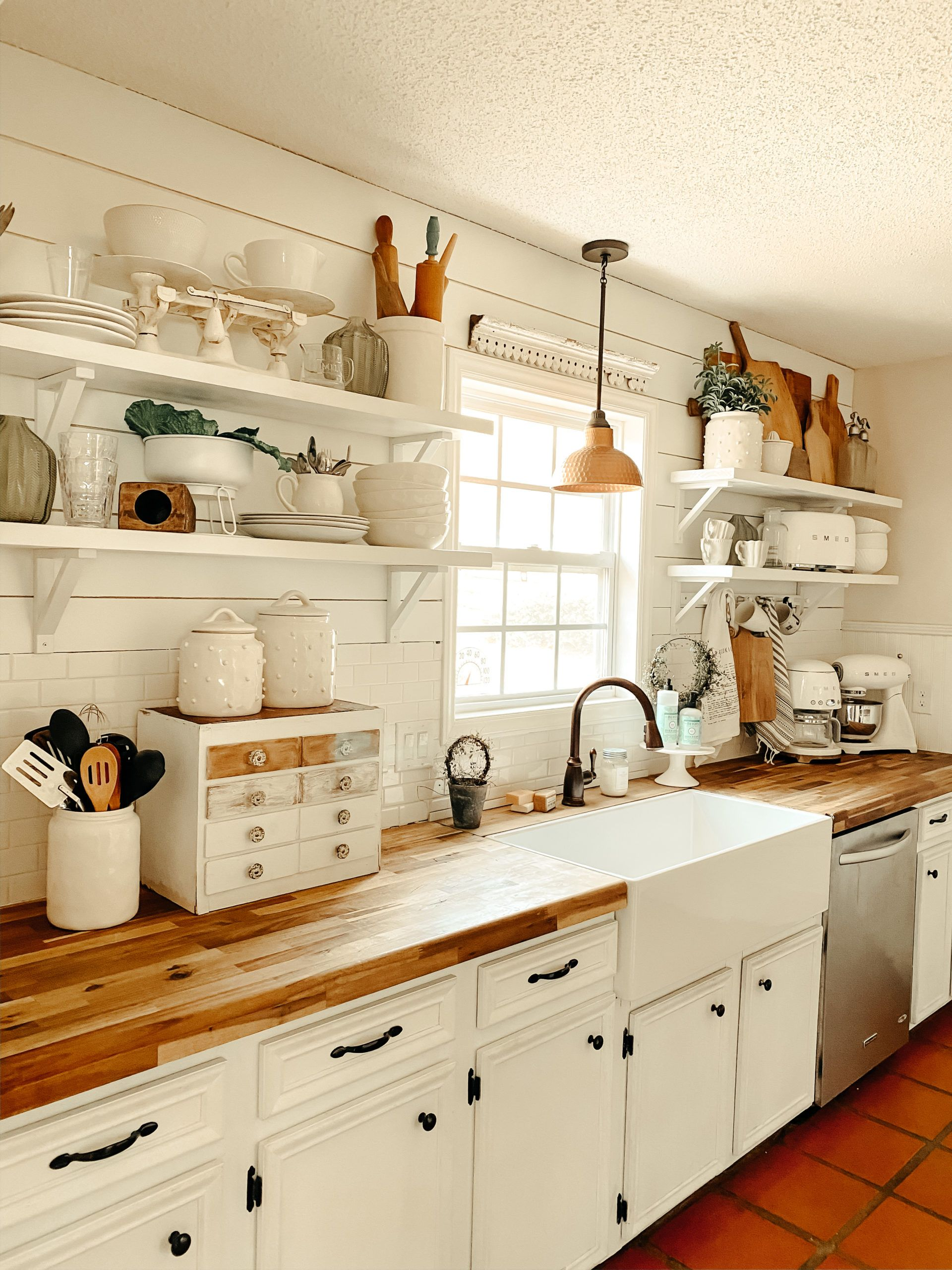 simple open shelving styling in 2020 cottage kitchen decor kitchen decor cottage kitchen on kitchen decor open shelves id=38381