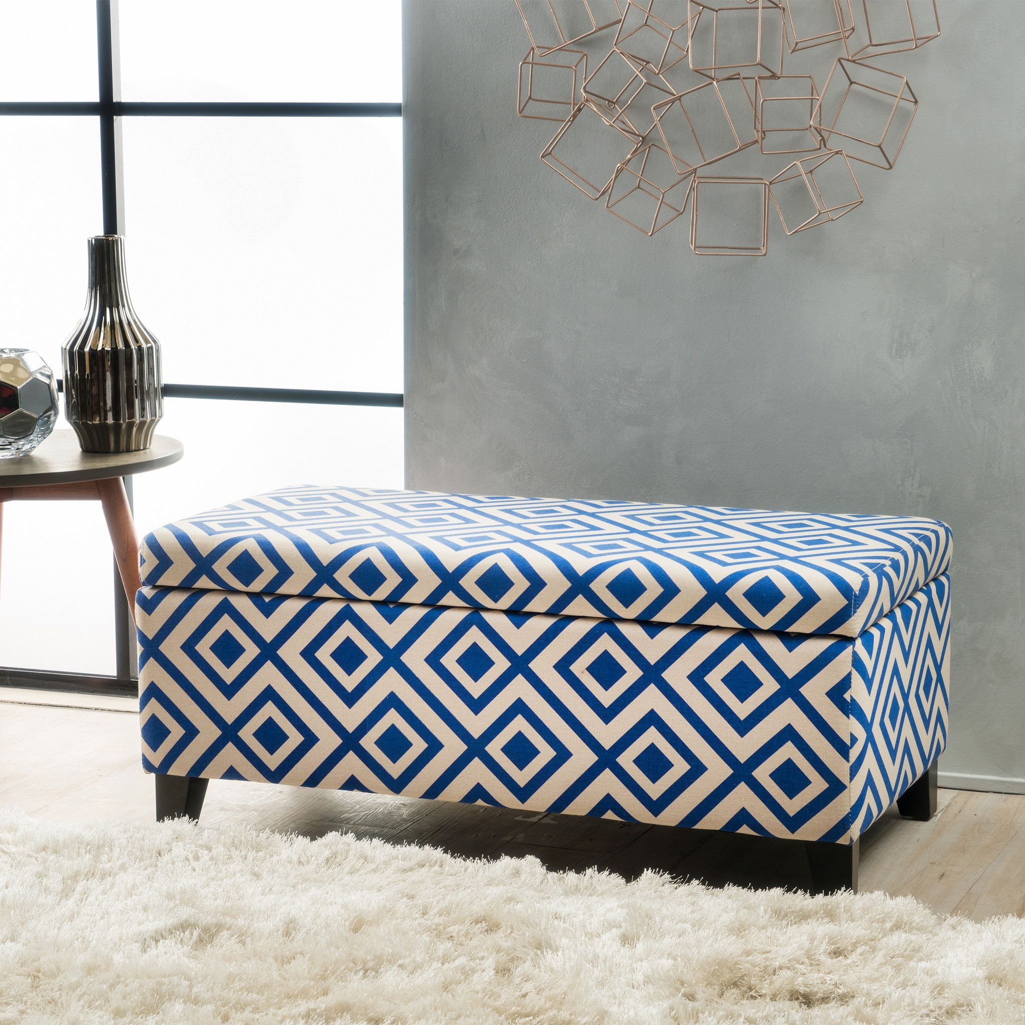 Atlantic Navy Blue Pattern Fabric Storage Ottoman