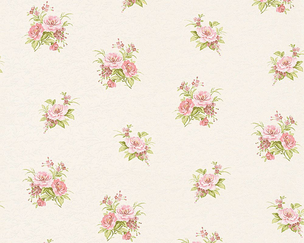 Vintage Shabby Chic Kidston Esqe Floral Wallpaper White Pink Deco