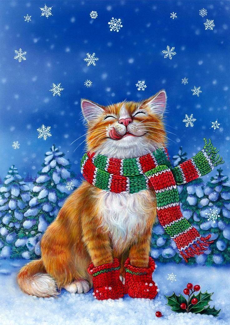 irina lombardo cat christmas animals and christmas illustration