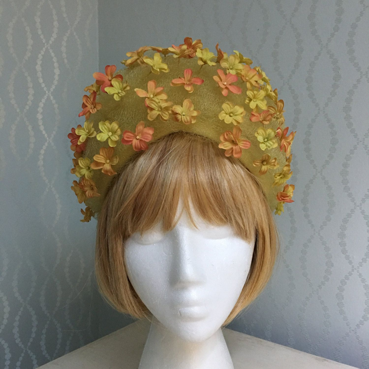 1960's Christian Dior Yellow Tulle & Floral Hat by PurpleIrisVintage on Etsy
