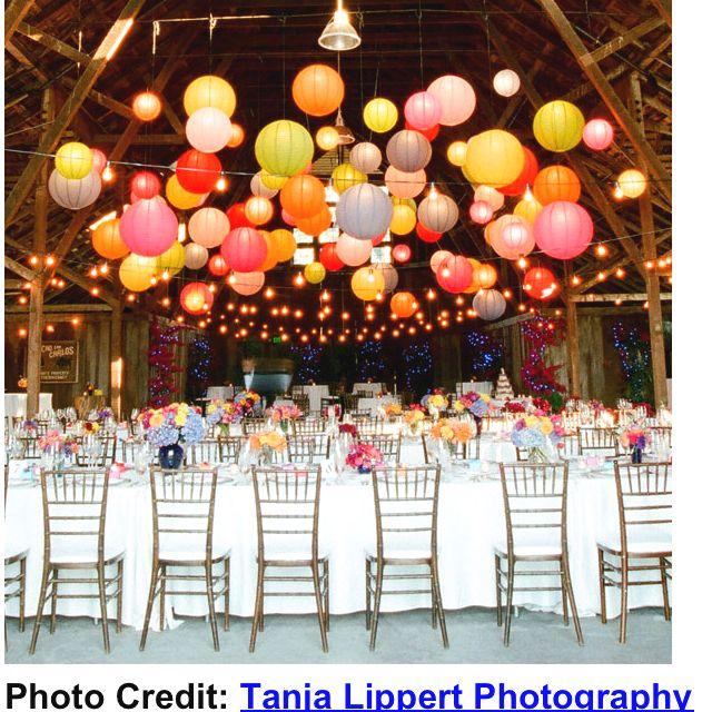 Beautiful multi-coloured paper lanterns as wedding decoration ...