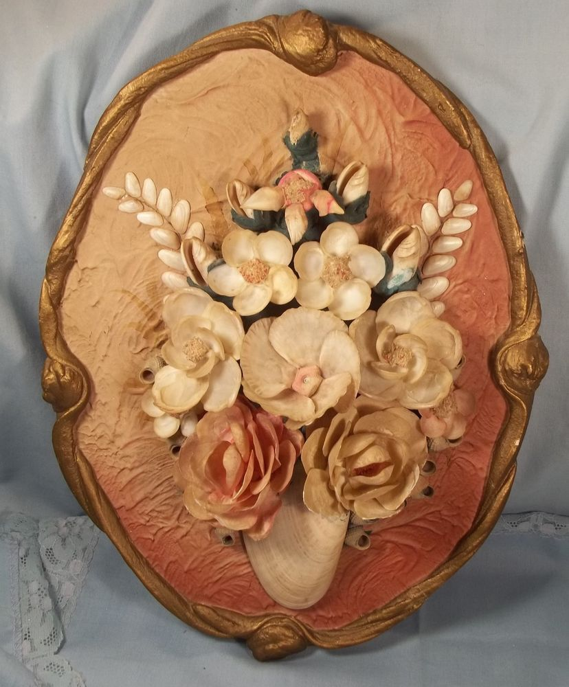 Antique Italian Seashell Floral Collage Art Oval Scroll Frame Wall Hanging 12""