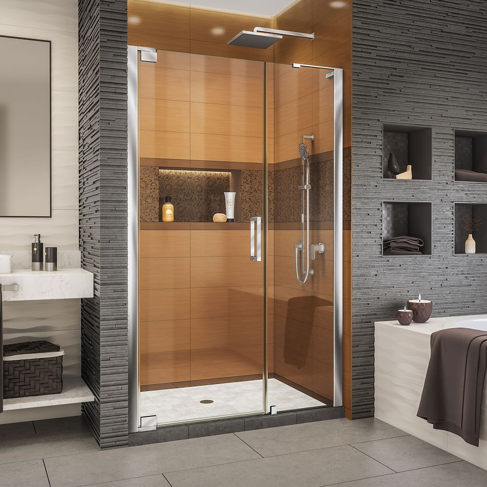 Elegance Ls 46 1 2 48 1 2 Inch W X 72 Inch H Frameless Pivot Shower Door In Chrome Shower Doors Bathroom Shower Doors Black Shower