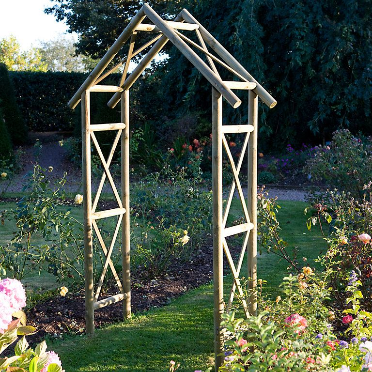 Blooma Cottage Wooden Apex Top Arch Diy At B Q Garden Archway