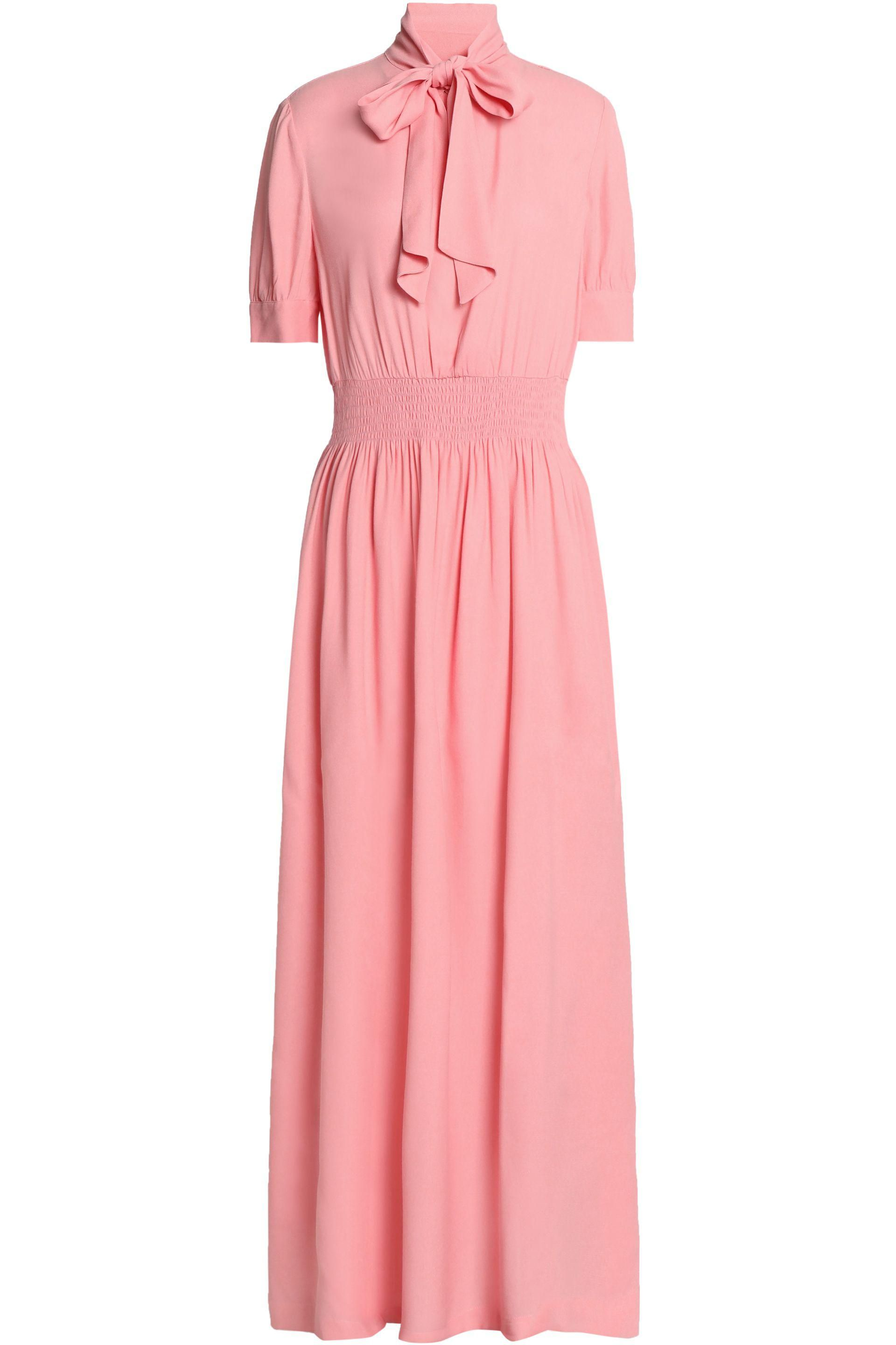 Pussy-bow Cotton And Silk-blend Crepon Maxi Dress - Pink See By Chlo te2Bp