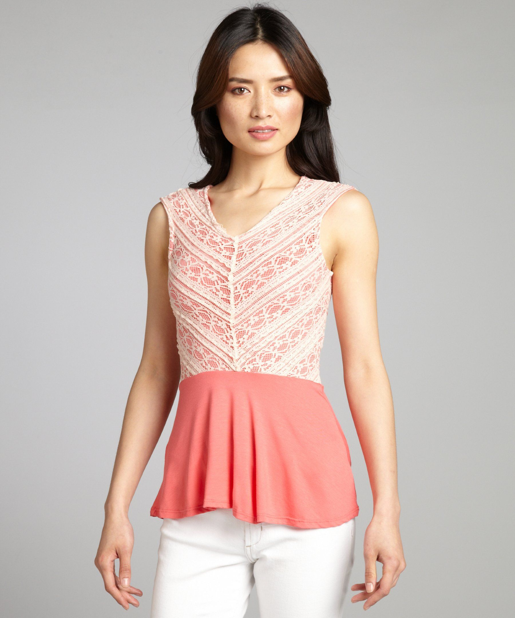 Casual Couture by Green Envelope coral and cream lace overlay jersey knit peplum top | BLUEFLY up to 70% off designer brands