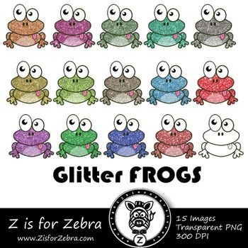 Glitter Frog Clip art - Commercial Use OK { Z is for Zebra}