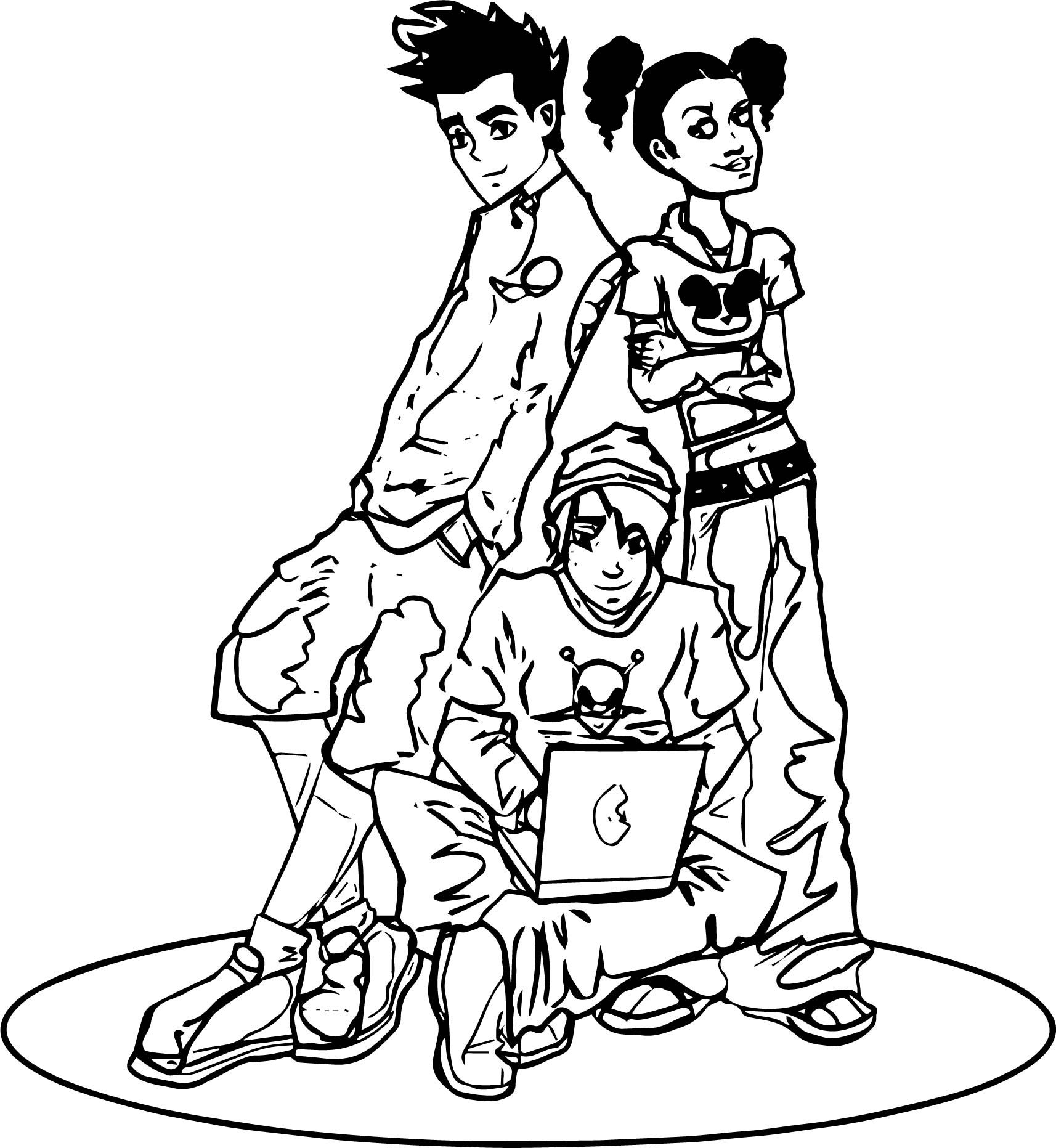 Cool American Dragon Jake Long Friends Computer Coloring Page