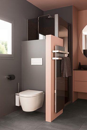 Foto Modernes Badezimmer rosa Ambience Velvet hängende Toilette Foto Modernes Badezimmer rosa Ambience Velvet hängende Toilette