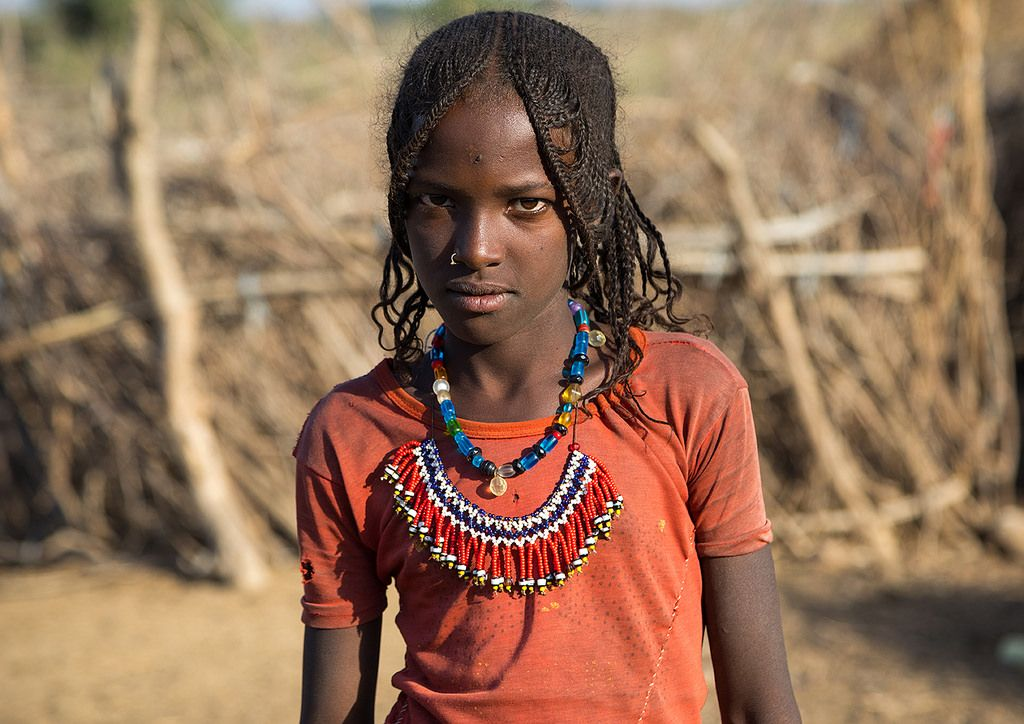 Afar Tribe Girl With Big Necklace And Braided Hair, Assait