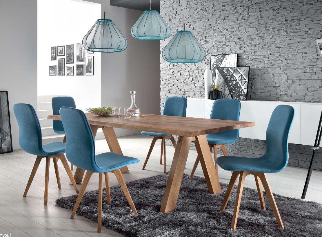 Schalenstuhl Stuhl Esszimmer modern blau Eiche massiv hellblau Samtig  Esszimmer  Esszimmer