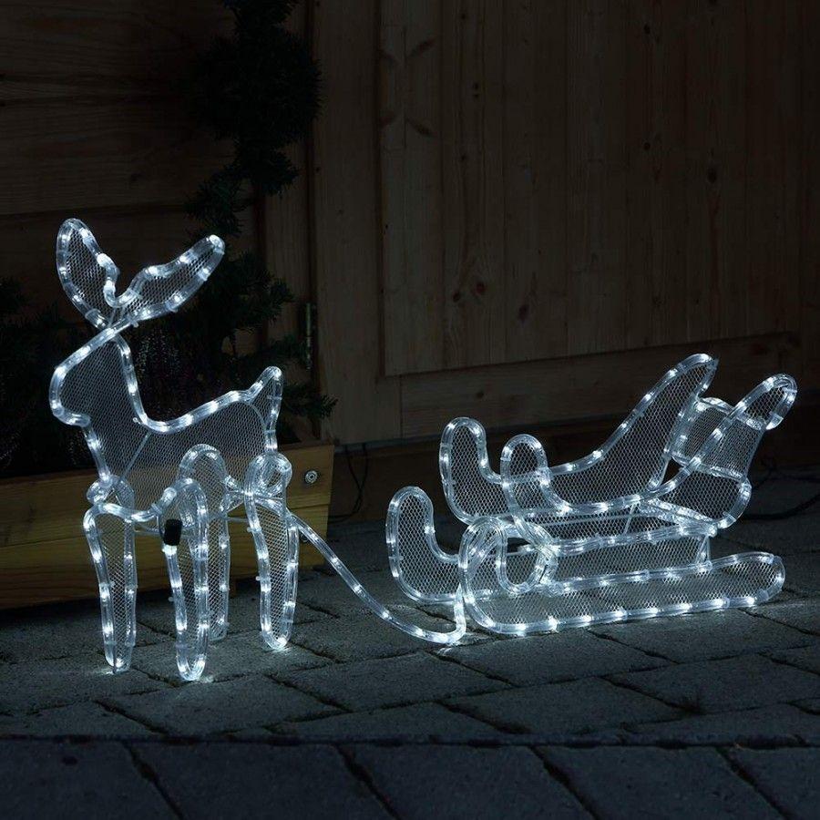Weihnachtsbeleuchtung Schlitten Rentiere.3d Rentier Beleuchtet Mit Schlitten Kaltweiß Als Dekoration Im