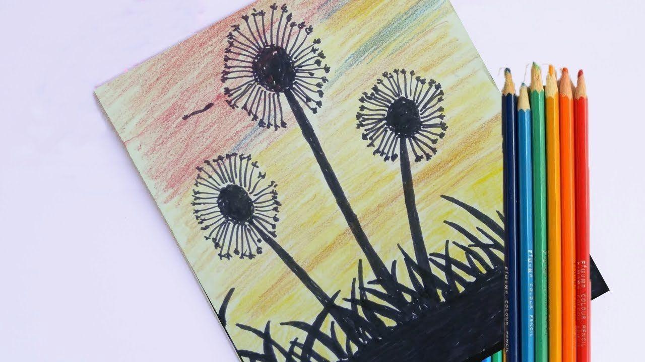 رسم منظر طبيعى سهل جدا بالألوان الخشبية للمبتدئين رسم منظر طبيعي بالرصا Animal Drawings Border Design Drawings