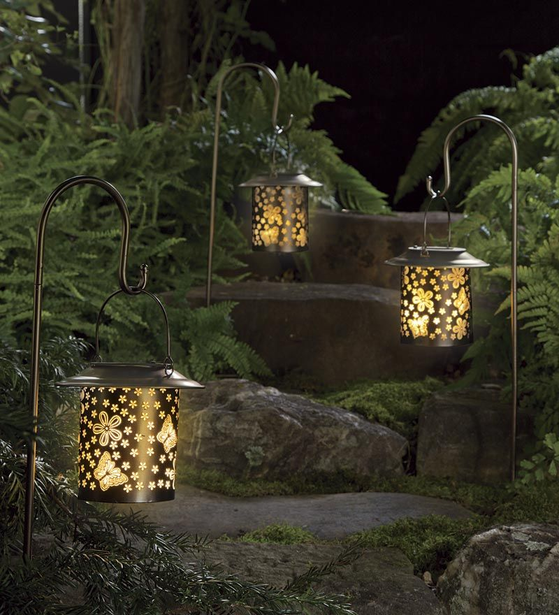 5 Pathway Lighting Tips Ideas Walkway Lights Guide: Solar Butterfly Lanterns With Shepherd's Hooks, Set Of 2
