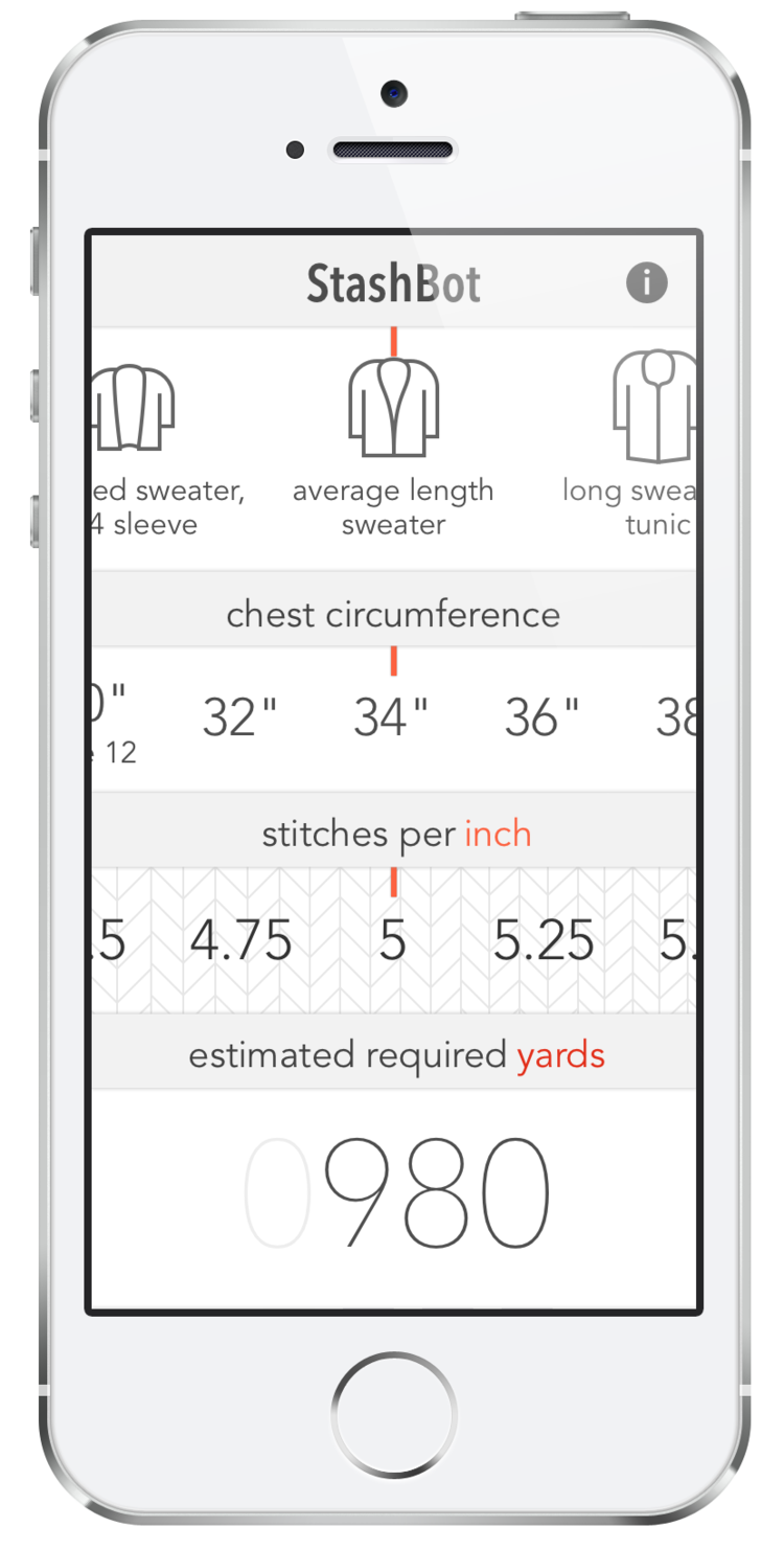 StashBot — Knitbot, by Hannah Fettig APP for calculating