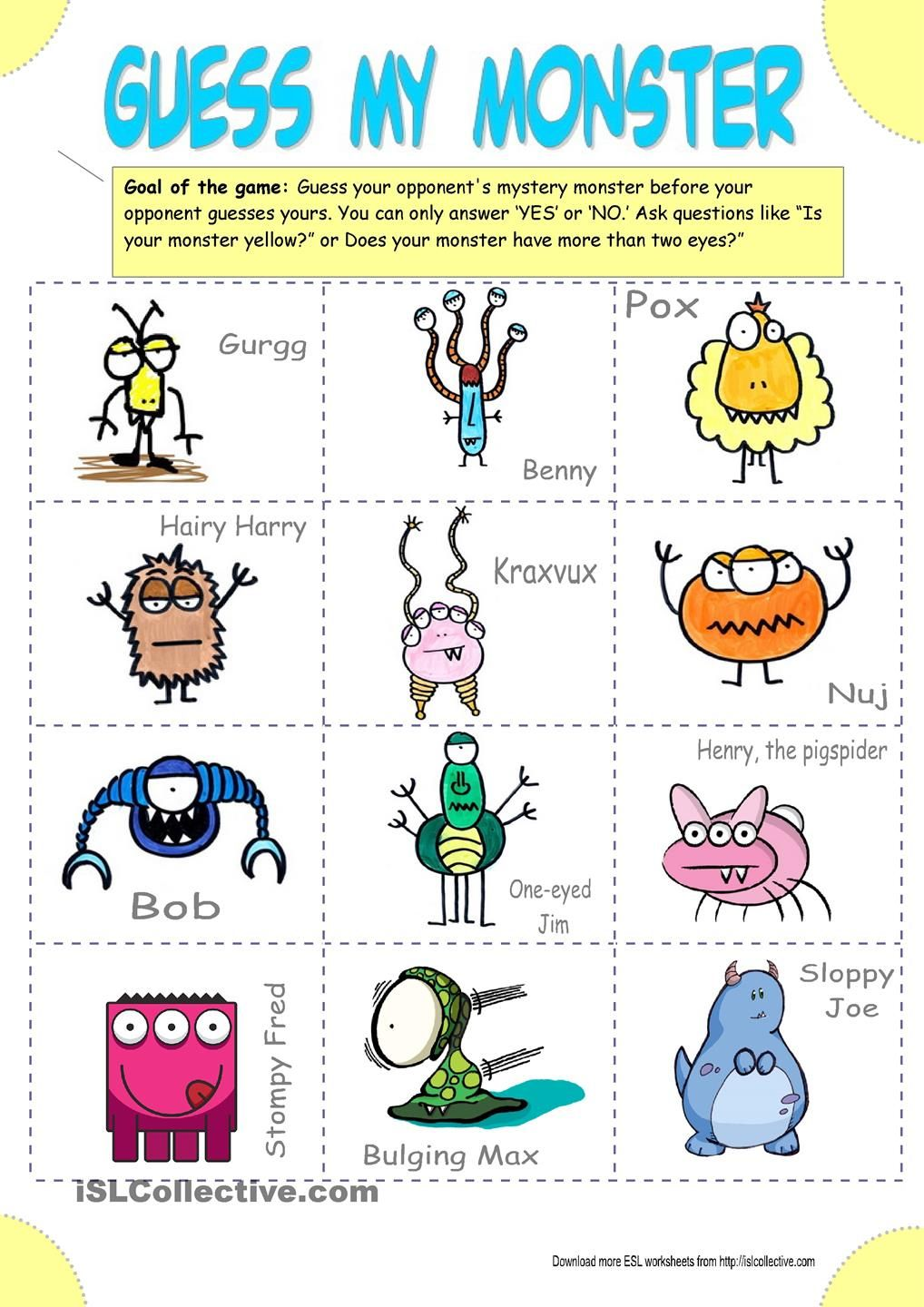 Guess My Monster (Guess who) Conversation cards