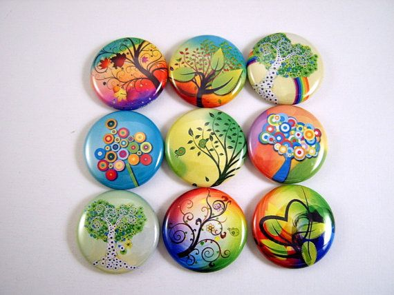 One Inch Swirly Trees Flatback Buttons, Pins, Magnets 12 Ct.