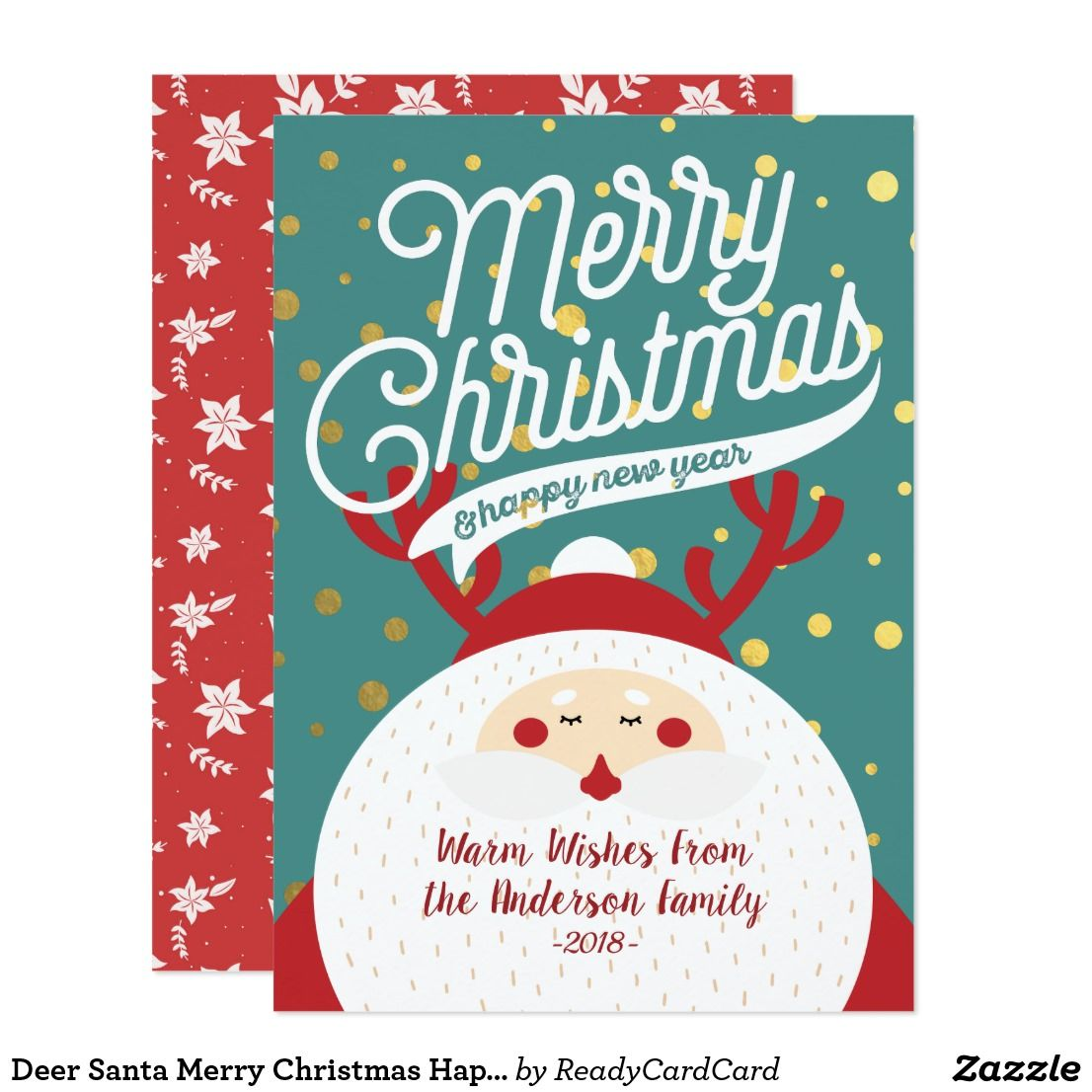 Deer Santa Merry Christmas Happy New Year Greeting Card | Merry and ...