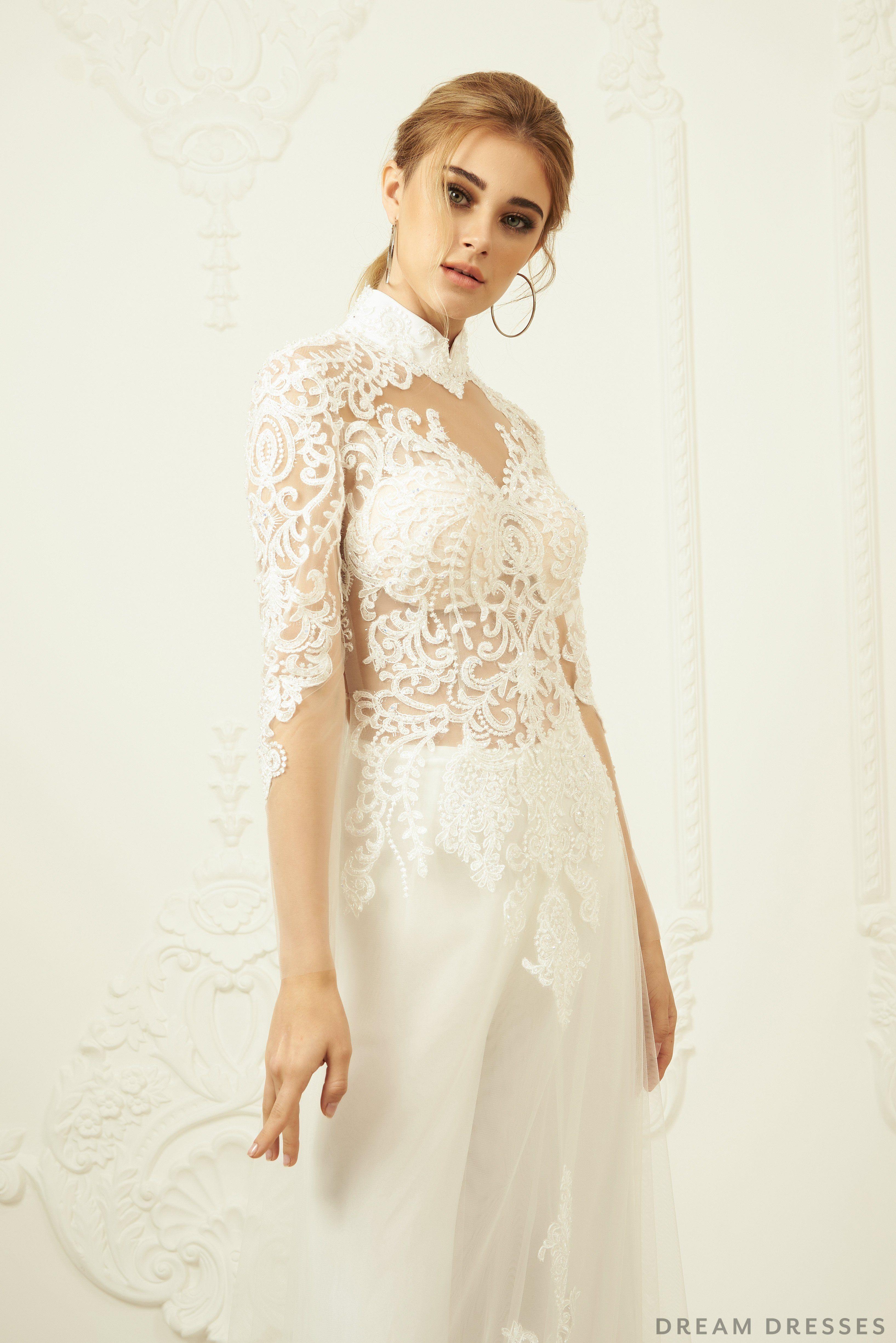 White Bridal Ao Dai Modern Vietnamese Lace Bridal Dress