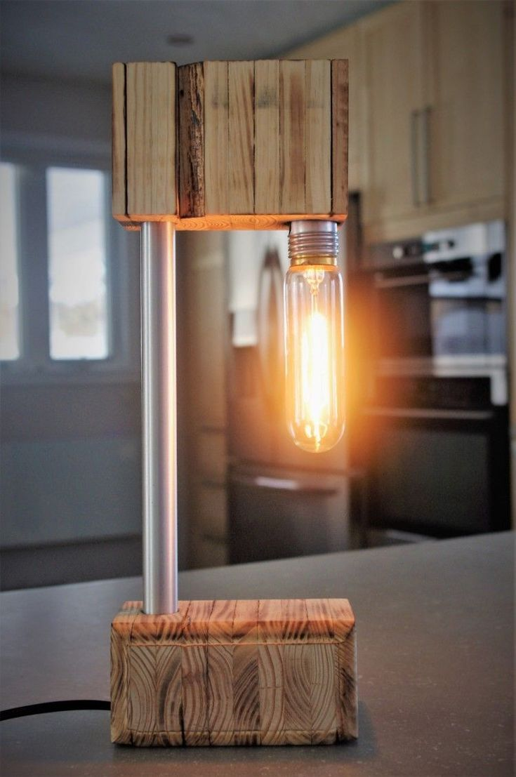 The Recycled Wooden Desk Lamp #Desk #Lamp #Recycled