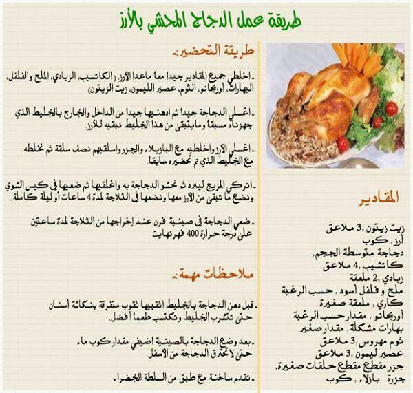 دجاج محشي ارز Egyptian Food Arabic Food Recipes