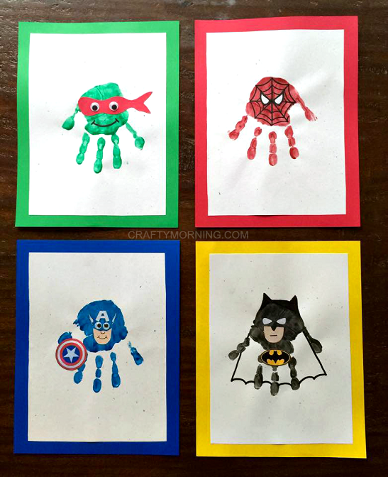 Amazing Superhero Handprint Crafts for Kids (Ninja turtles, spiderman, captain america, batman and more!) - Crafty Morning #superherocrafts