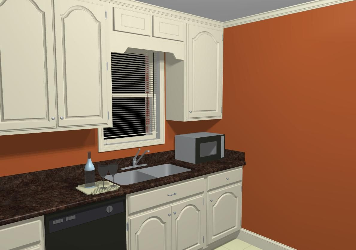 Burnt Orange Kitchen Cabinets orange walls |  wall or trim/chair railplease help!-kitchen