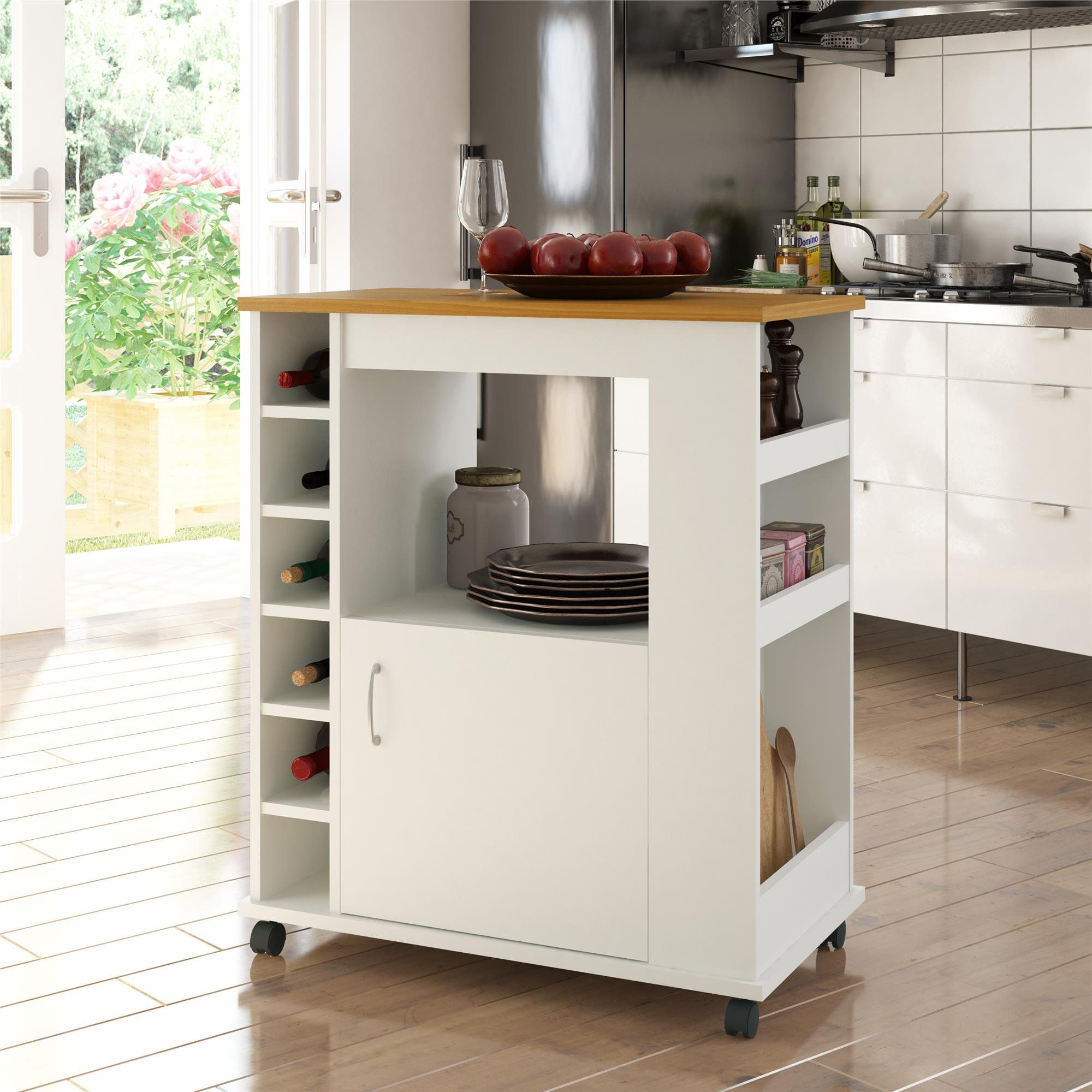 Ameriwood Home Williams Kitchen Cart Black Walmart Com Walmart Com In 2020 Kitchen Cart White Kitchen Cart Charlton Home