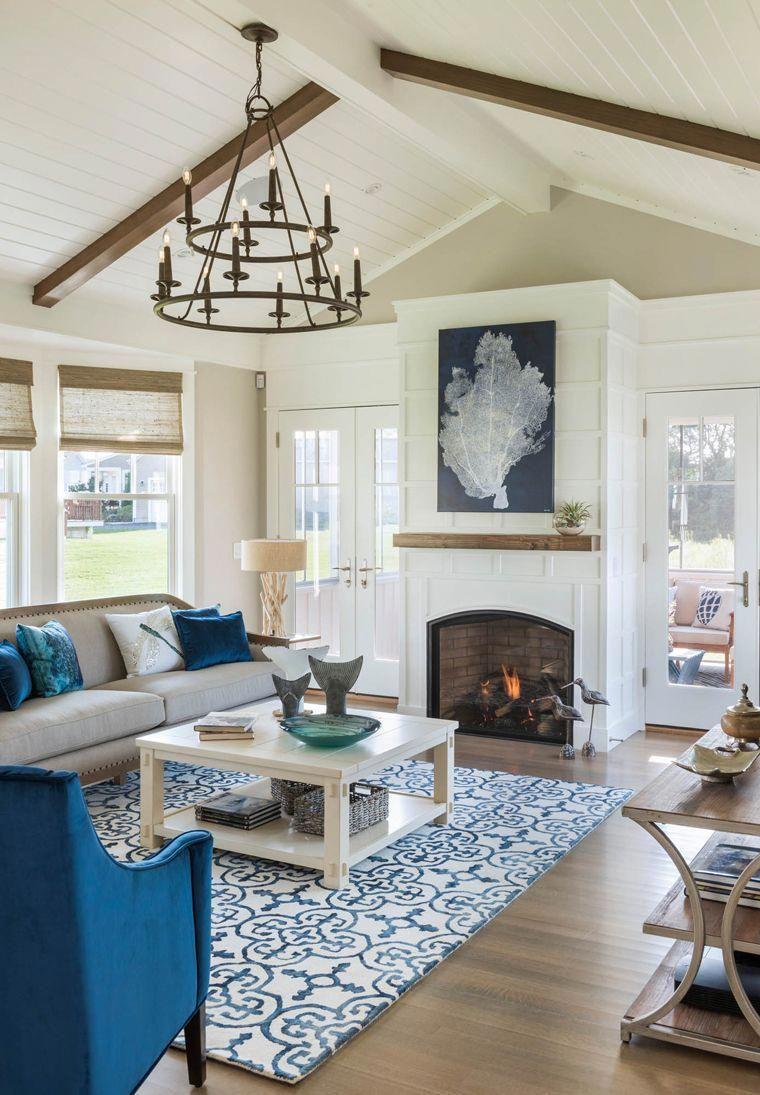 Coastal Living Room With Blue Accents Livingroomdecorturquoise Farm House Living Room Coastal Living Rooms Coastal Decorating Living Room