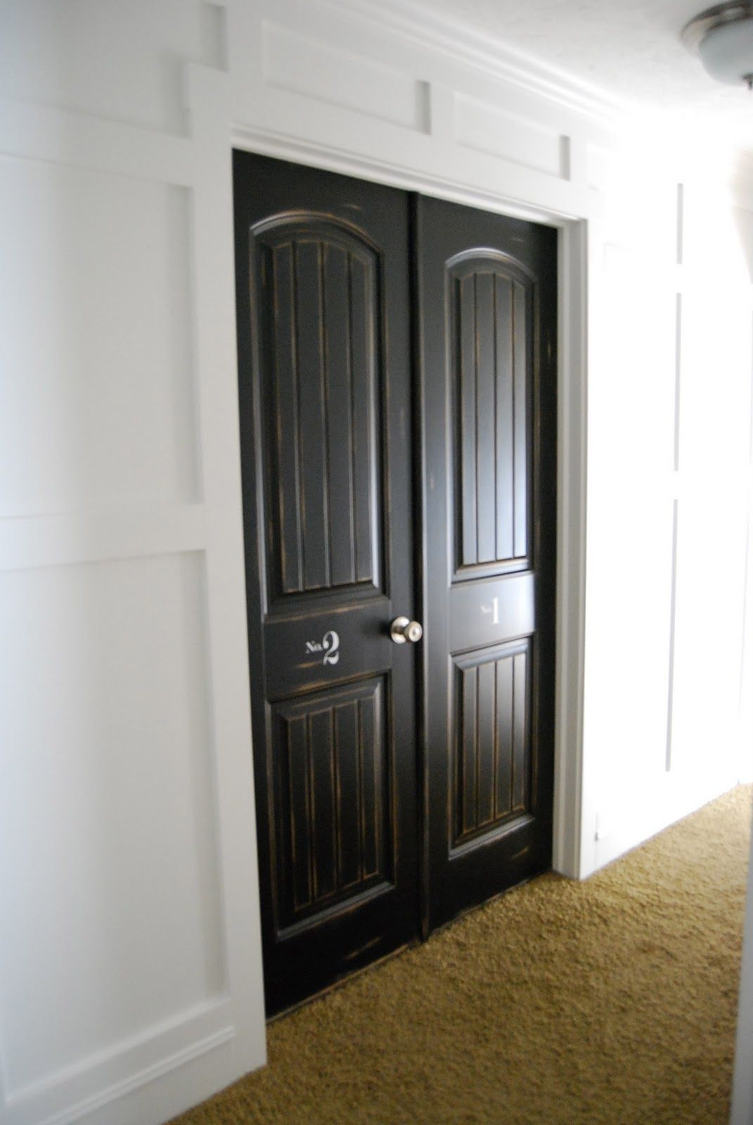 awesome wooden black painting interior doors   beautiful double doors - love the black paint and the ...