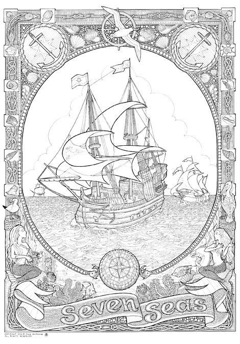 DoodleNation Giant Colouring In Poster - Seven Seas | Ships ...