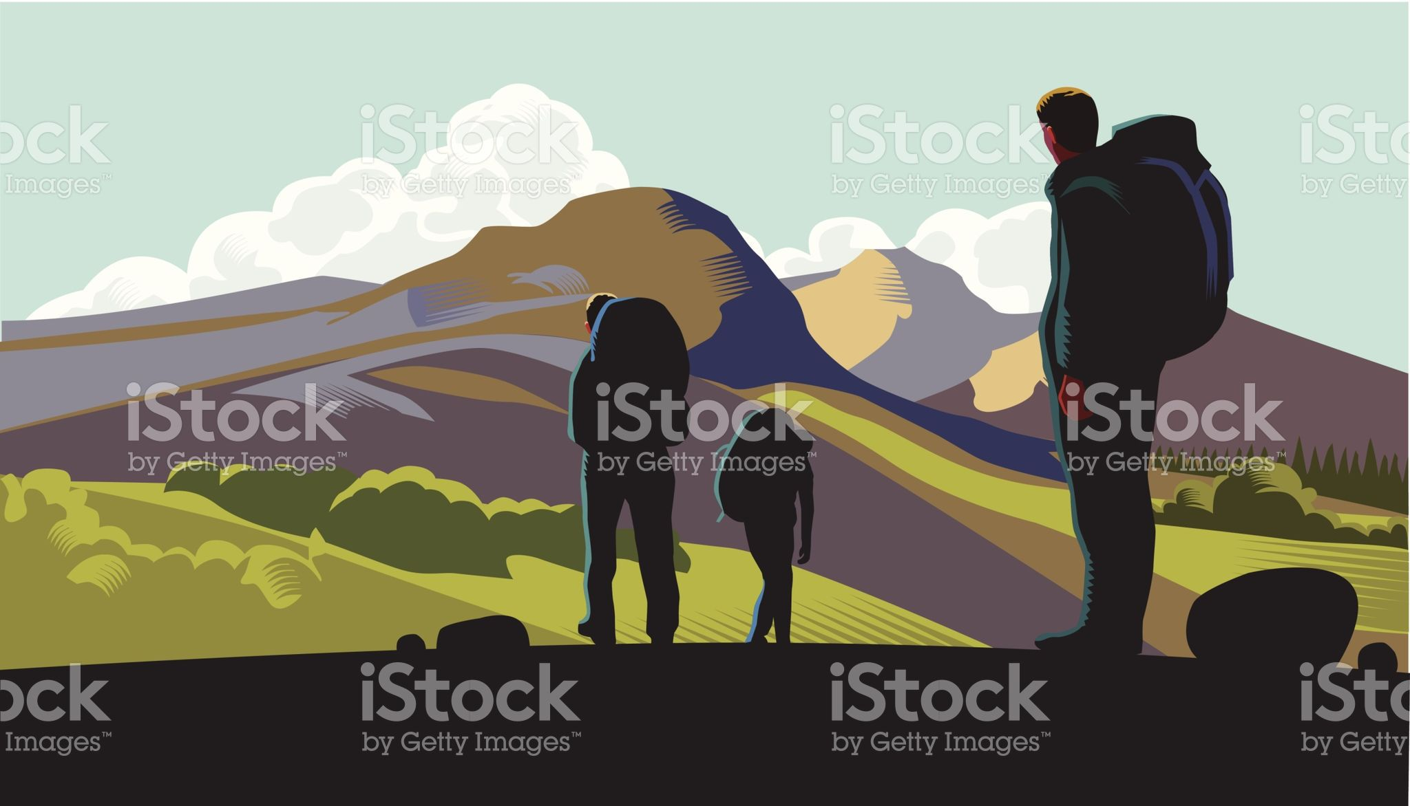 Hill walkers royalty-free stock vector art