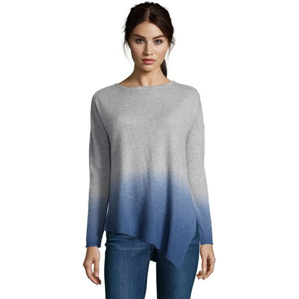 Kokun Dip Dye Assymetrical Scoop (379532901) ($150) ❤ liked on Polyvore featuring tops, sweaters, cashmere tops, dip dye sweater, cashmere sweater, ombre top and dip dyed sweater