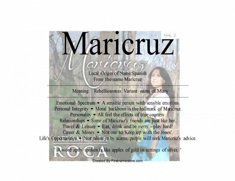 Maricruz name means rebelliousness | Emotions, Personal ...