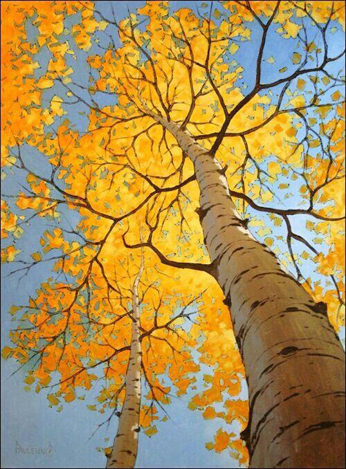 Arbol Amarillo Arte De árboles Paisaje Otoñal Pinturas De Arboles