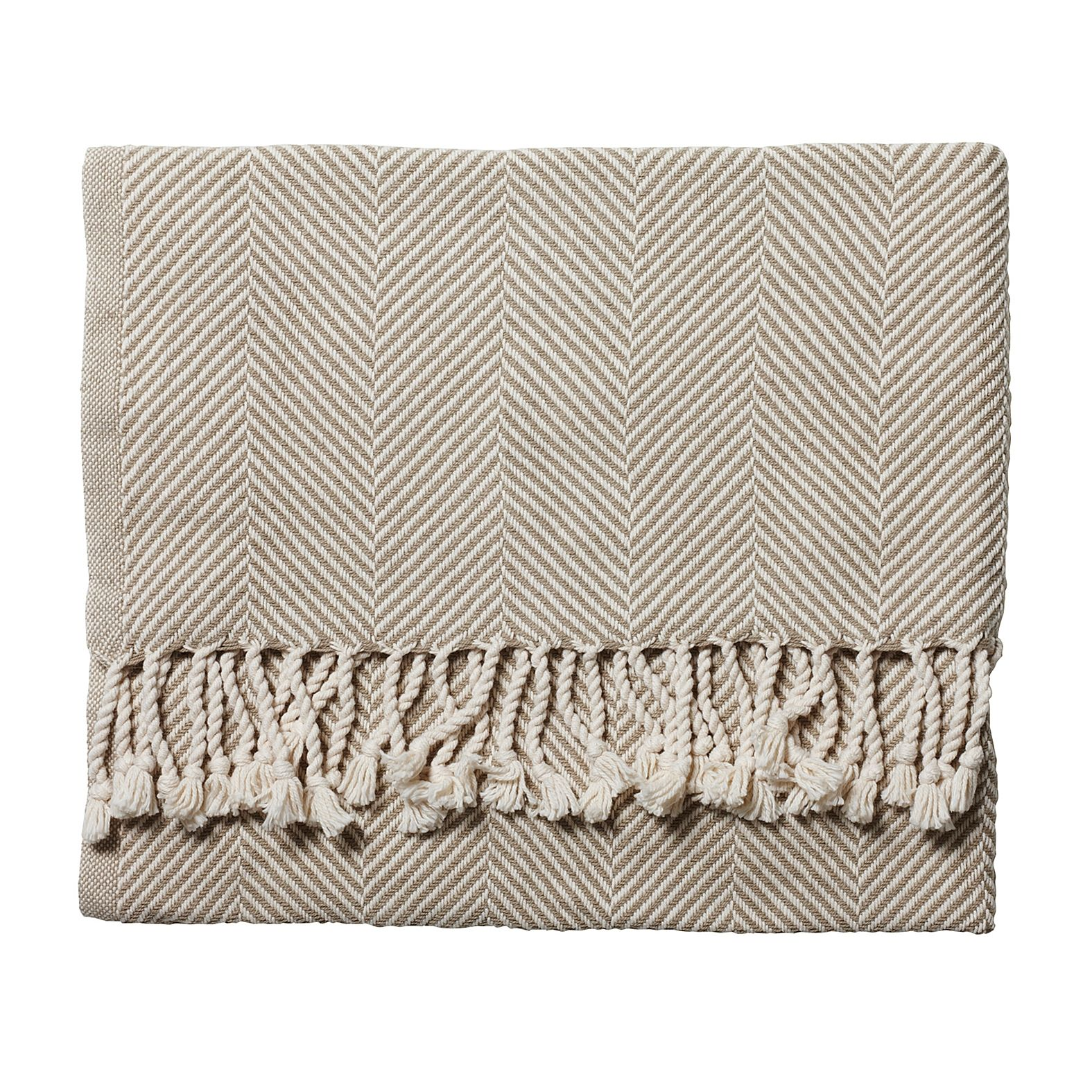 Stone Herringbone Throw $250