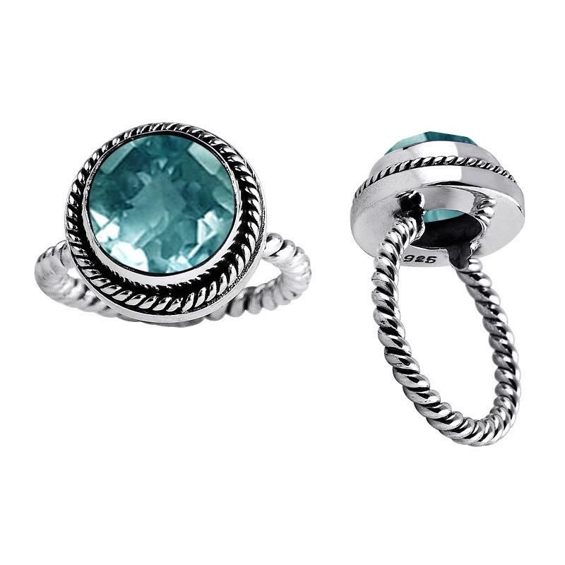 """AR-6019-BT-8"""" Sterling Silver Ring With Blue Topaz"""