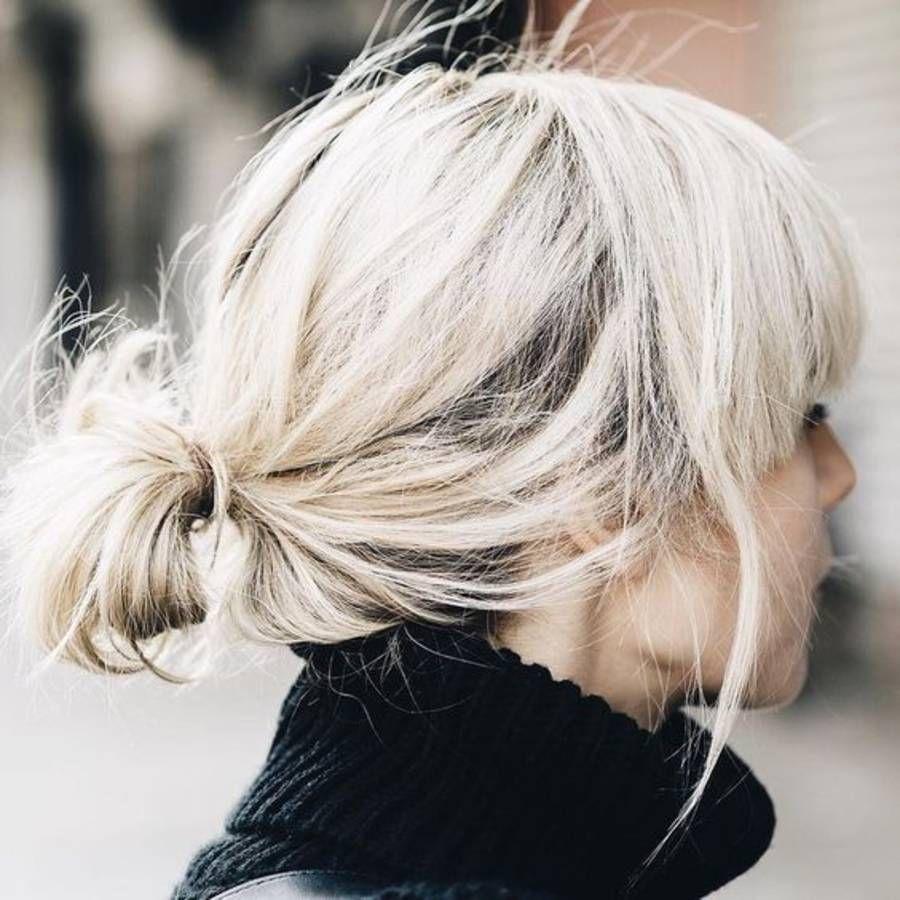 Coiffure cheveux mi longs chignon bas automnehiver 2016