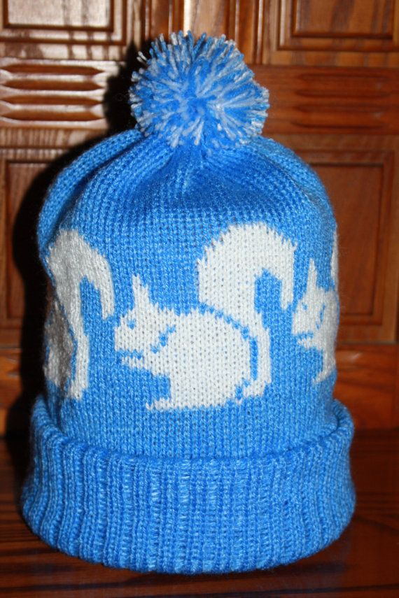 Squirrel Design Hand Made Knitted Bobble Hat or by RatherGoodHats