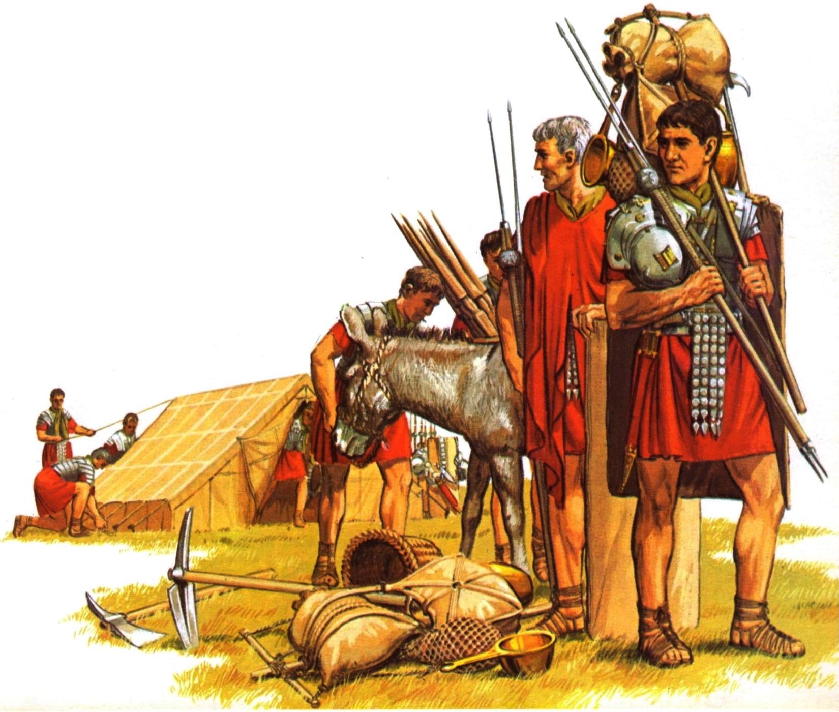Contubernio romano demontando su tienda para iniciar la marcha. Autor Peter Connlly
