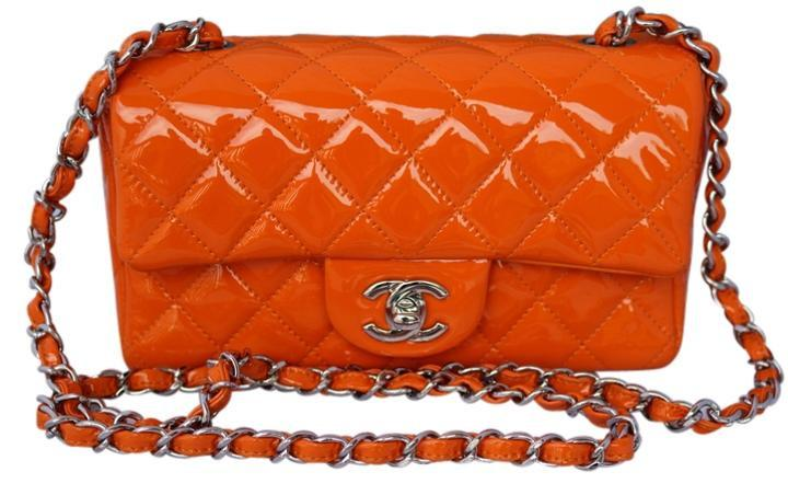 0ea64de5654bc9 Chanel 2014 Mini Classic CC Logo Quilted Leather Patent Single Flap Handbag  Small Orange Cross Body Bag Chain