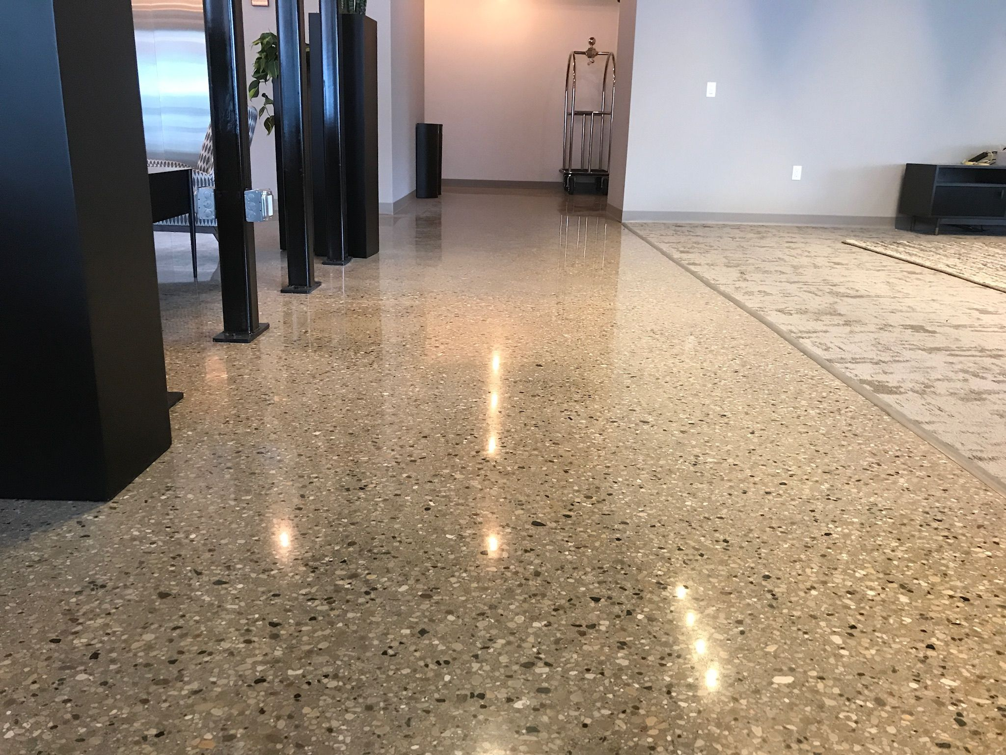 Image Result For Residential Polished Concrete Floors Wood Walls House Concrete Floor Polished Concrete Concrete Floors Wood Wall