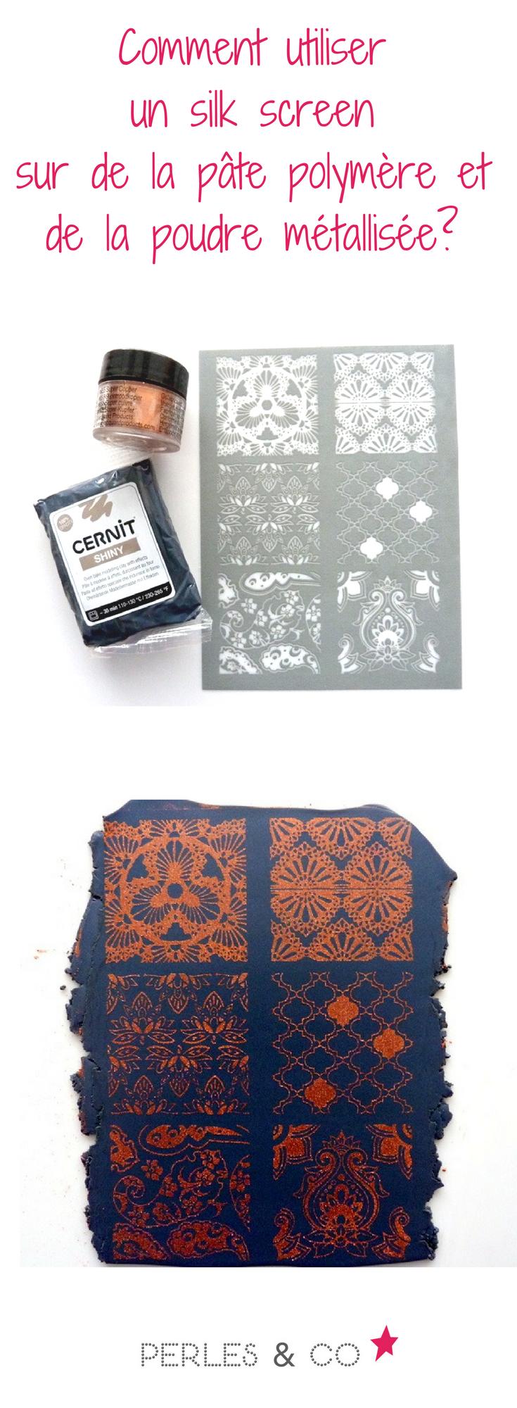 l 39 utilisation de l 39 outil silkscreen sur la p te polym re permet d 39 imprimer des motifs gr ce l. Black Bedroom Furniture Sets. Home Design Ideas
