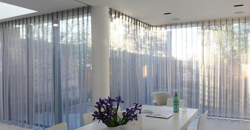 sliding door bifold door sheer curtains home decor pinterest vorh nge. Black Bedroom Furniture Sets. Home Design Ideas