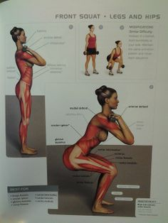 Muscle Diagram Front Squat Fitness Body Exercise Fitness Motivation