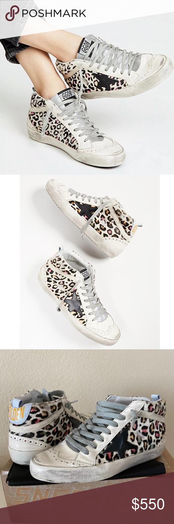 Golden Goose White Leopard Mid Star Sneakers 37 7 In 2020 Star Sneakers White Leopard Golden Goose Shoes