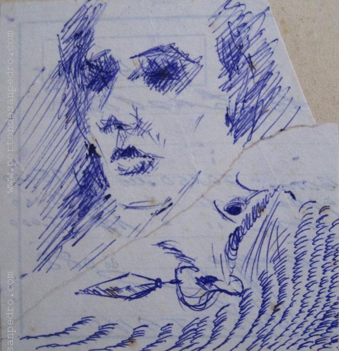 "Juan José Montans ""Boceto retrato"" Tinta sobre papel 10 x 9 cm.  http://www.portondesanpedro.com/ver-producto.php?id=11966"